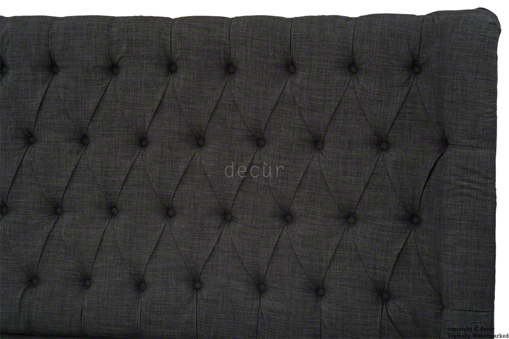 Hollyrood Buttoned Linen Winged Headboard - Charcoal
