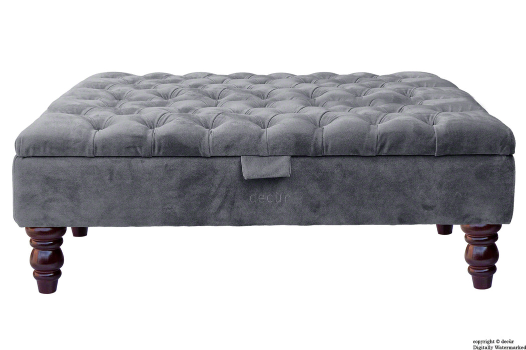 Tiffany Buttoned Velvet Footstool Large - Seal with Optional Storage