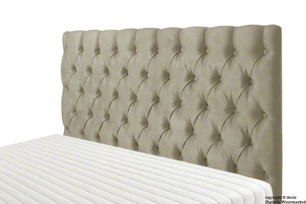 Tiffany Harrogate Buttoned Velvet Headboard - Putty