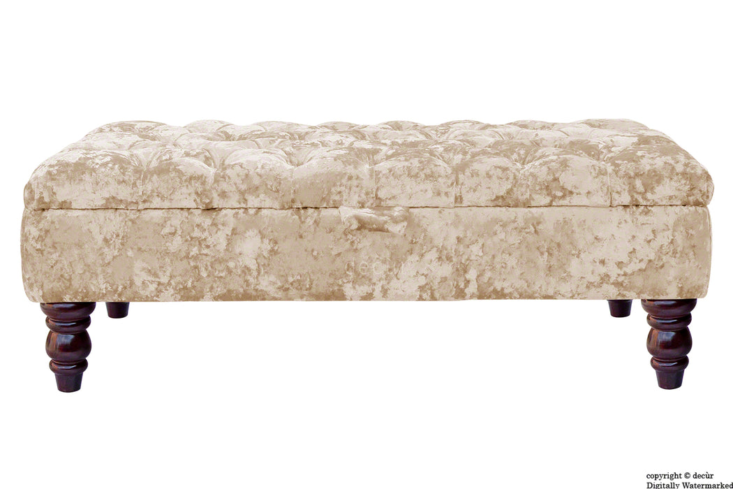 Tiffany Buttoned Crushed Velvet Footstool - Vapour with Optional Storage