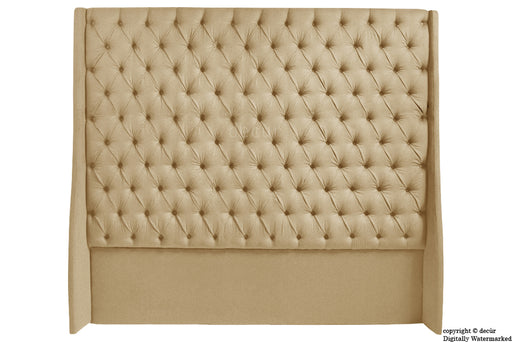 Abbingdon Buttoned Winged Velvet Headboard - Parchment