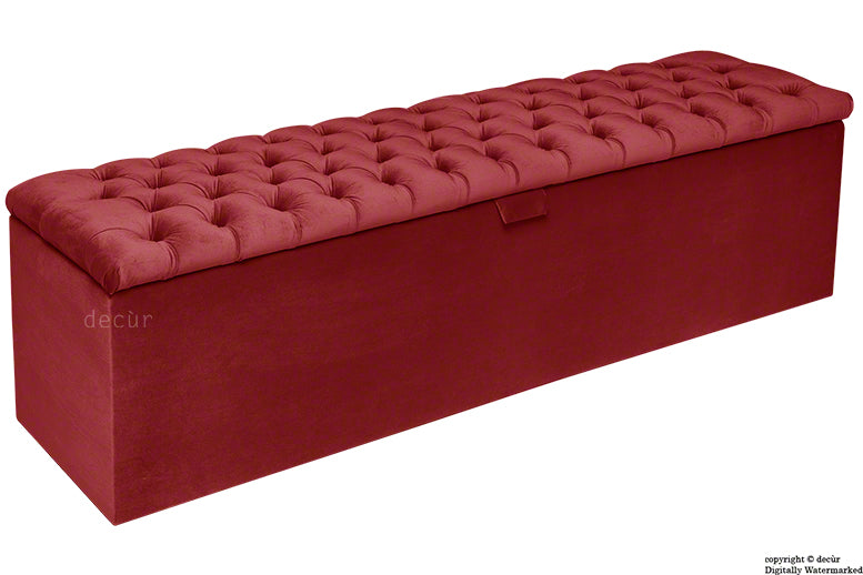 Viscount Chesterfield Velvet Ottoman - Red