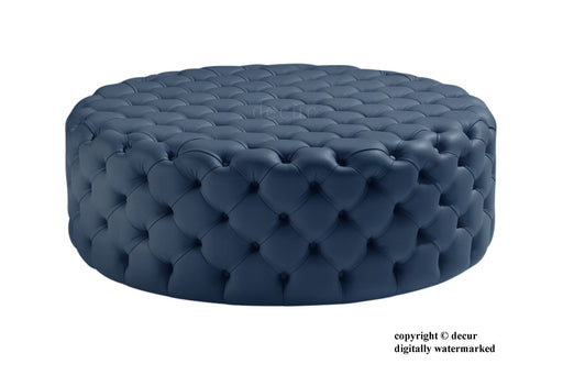 Decur Leather Round Buttoned Ottoman / Footstool - Marine