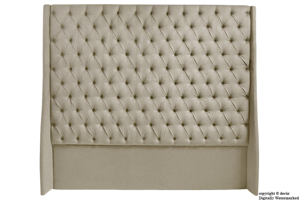 Abbingdon Buttoned Winged Velvet Headboard - Putty