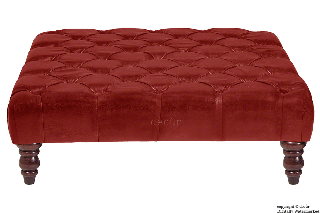 Cecil Buttoned Leather Footstool - Gamay