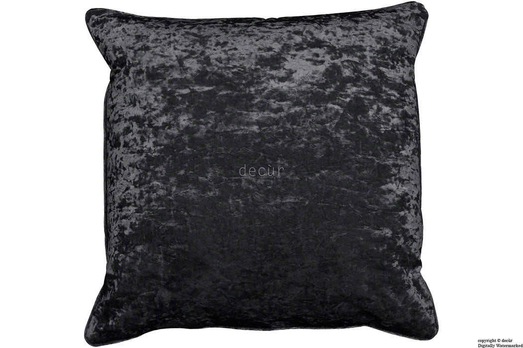 Serenity Crushed Velvet Cushion - Ebony