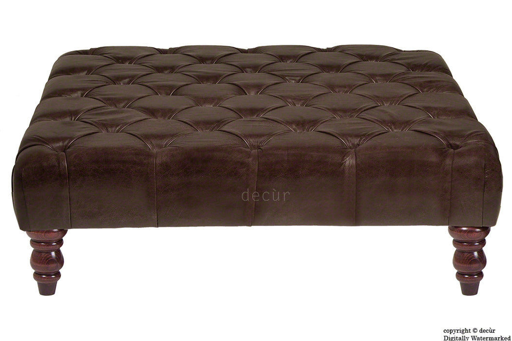 Cecil Buttoned Leather Footstool - Dark Brown