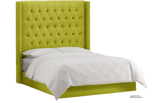 Balmoral Linen Upholstered Winged Bed - Olive