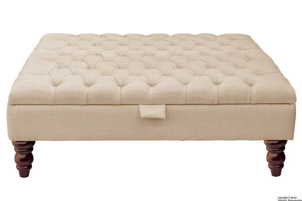 Tiffany Buttoned Linen Footstool Large - Sand with Optional Storage