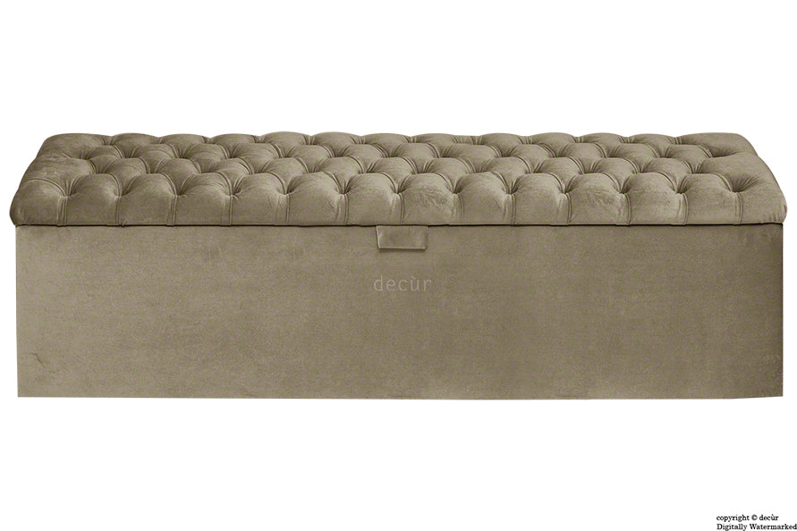 Viscount Chesterfield Velvet Ottoman - Taupe