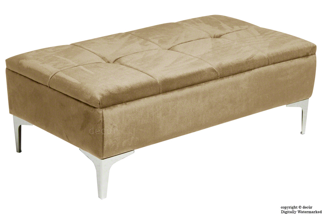 Mila Modern Buttoned Velvet Footstool - Parchment with Optional Storage