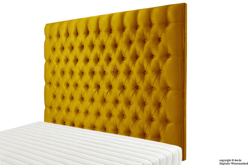 Tiffany Harrogate Buttoned Wall High Velvet Headboard - Gold