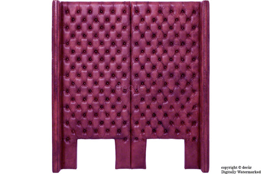Beauchamp Buttoned Courtyard Leather Headboard Aubergine
