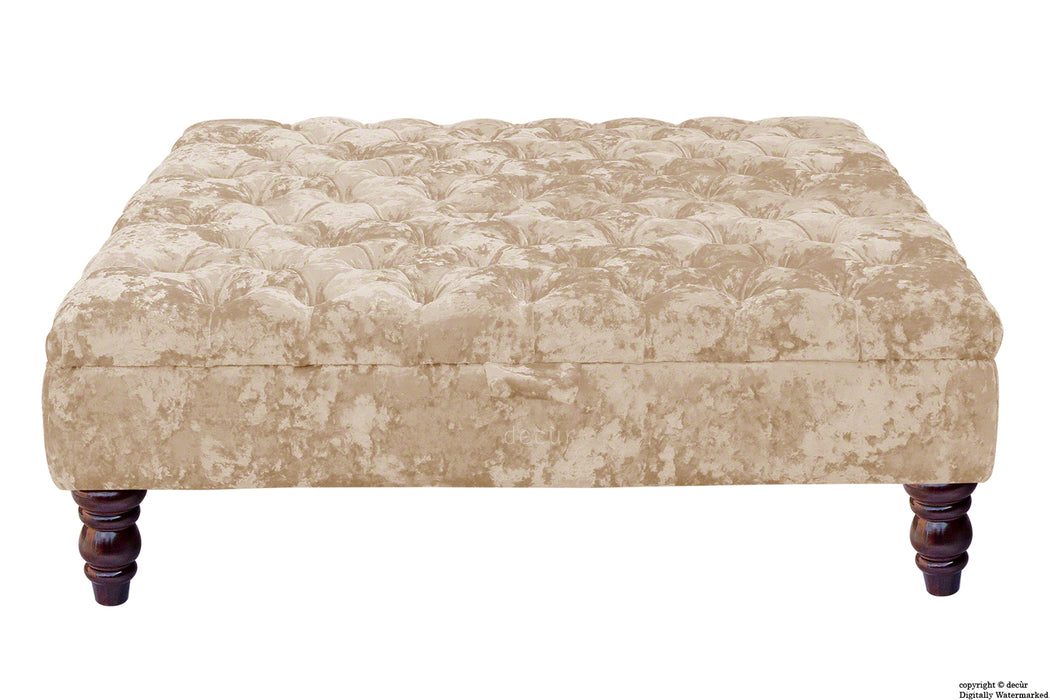 Tiffany Buttoned Crushed Velvet Footstool Large - Elder with Optional Storage