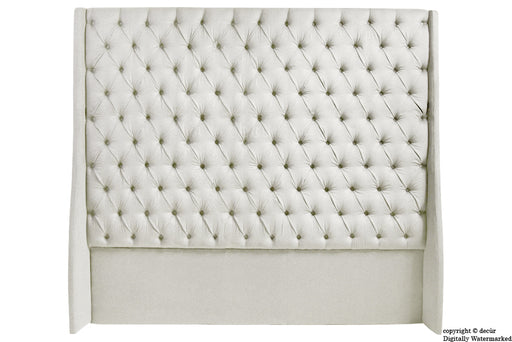 Abbingdon Buttoned Winged Velvet Headboard - Cream