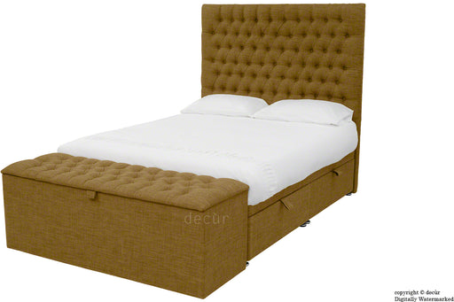 Kensington Linen Upholstered Ottoman Bed - Coffee