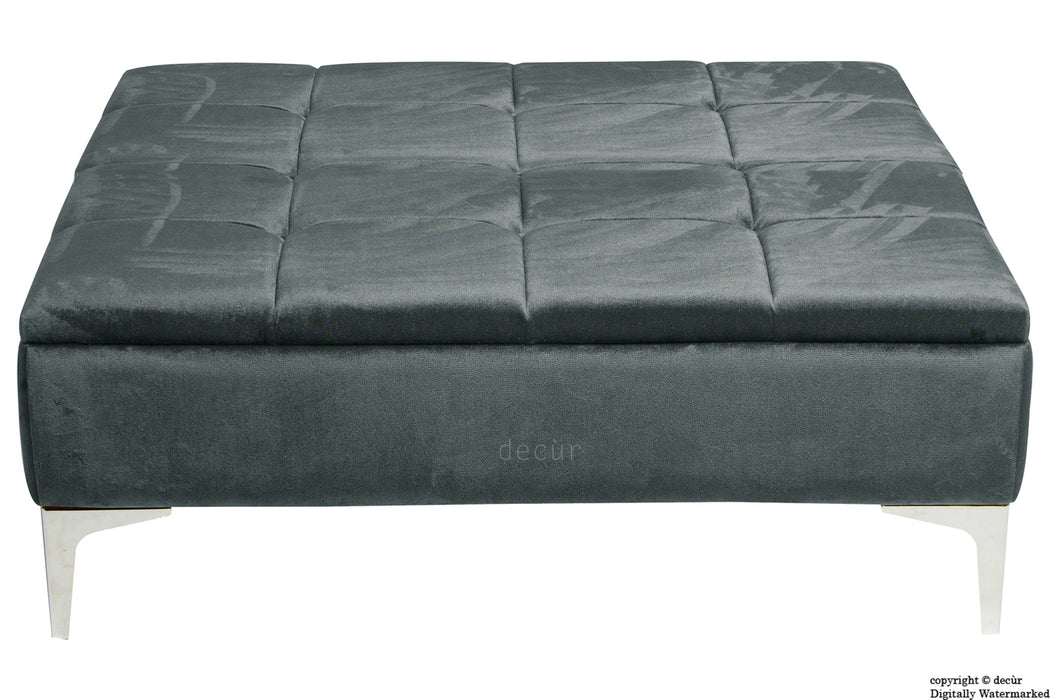 Mila Modern Buttoned Velvet Footstool Large - Slate with Optional Storage