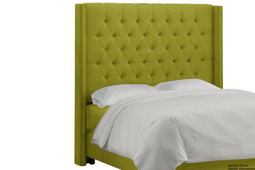 Balmoral Buttoned Linen Winged Headboard - Olive