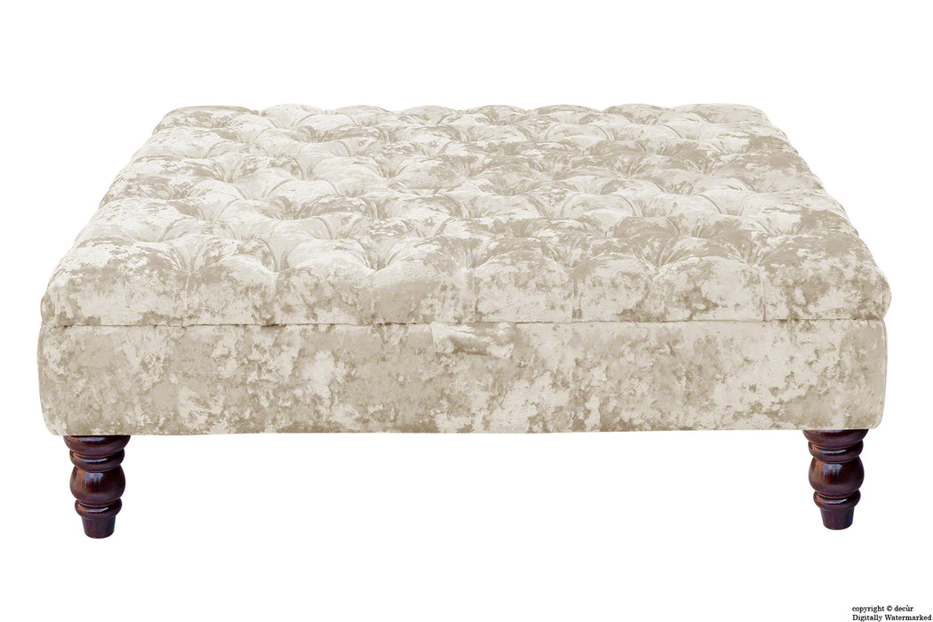 Tiffany Buttoned Crushed Velvet Footstool Large - Chalk with Optional Storage