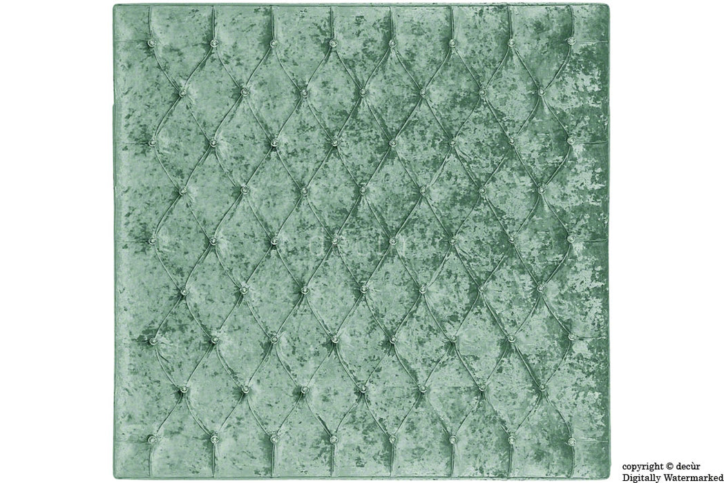 London Crushed Velvet Buttoned Headboard - Aqua