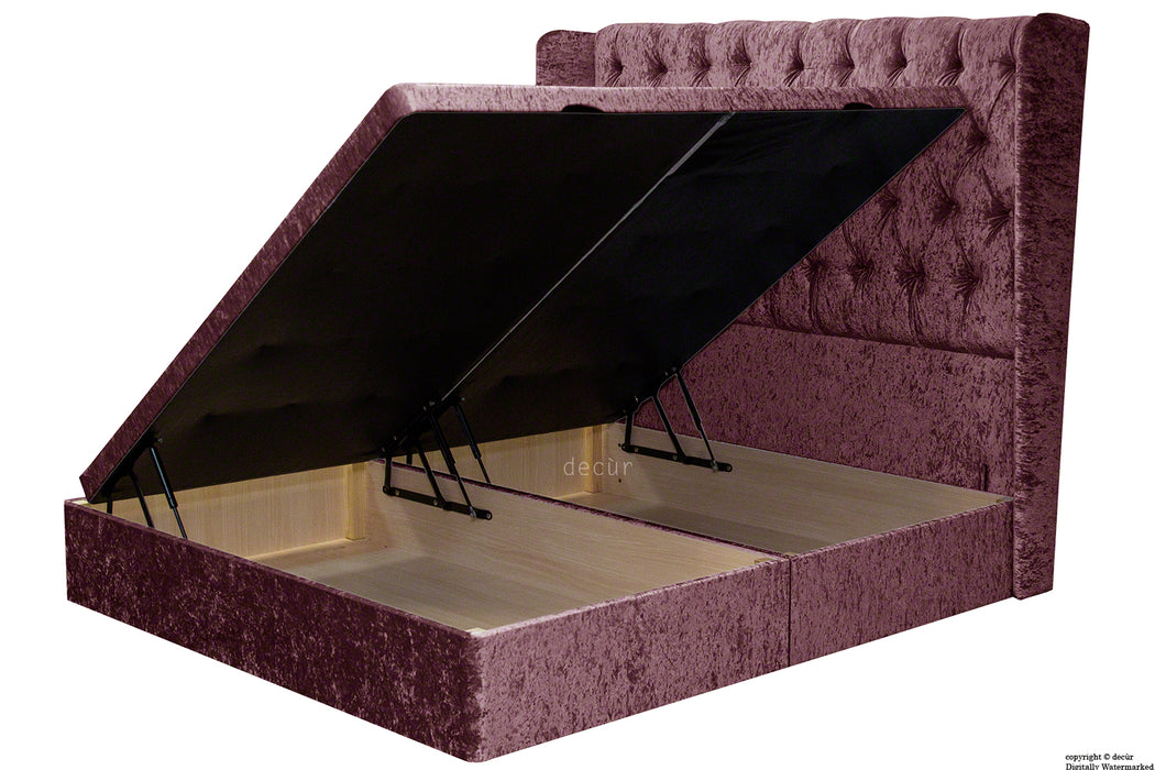 Elizabeth Winged Buttoned Crushed Velvet Bed - Mulberry