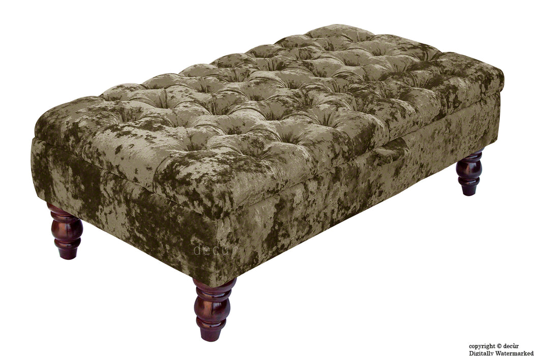 Tiffany Buttoned Crushed Velvet Footstool - Liquer with Optional Storage