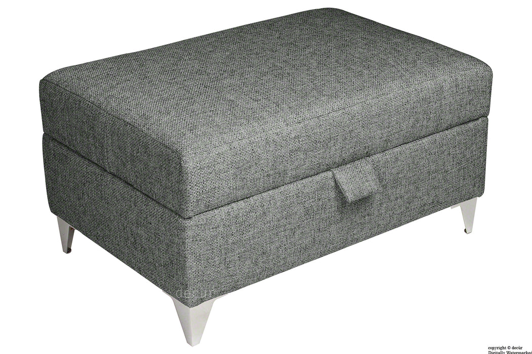 The Revive Chenille Ottoman - Charcoal