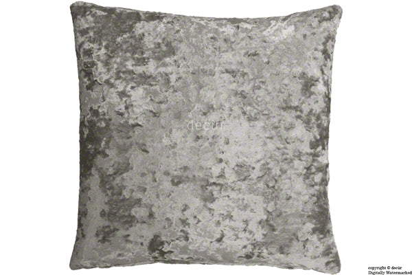 London Crushed Velvet Cushion - Mercury