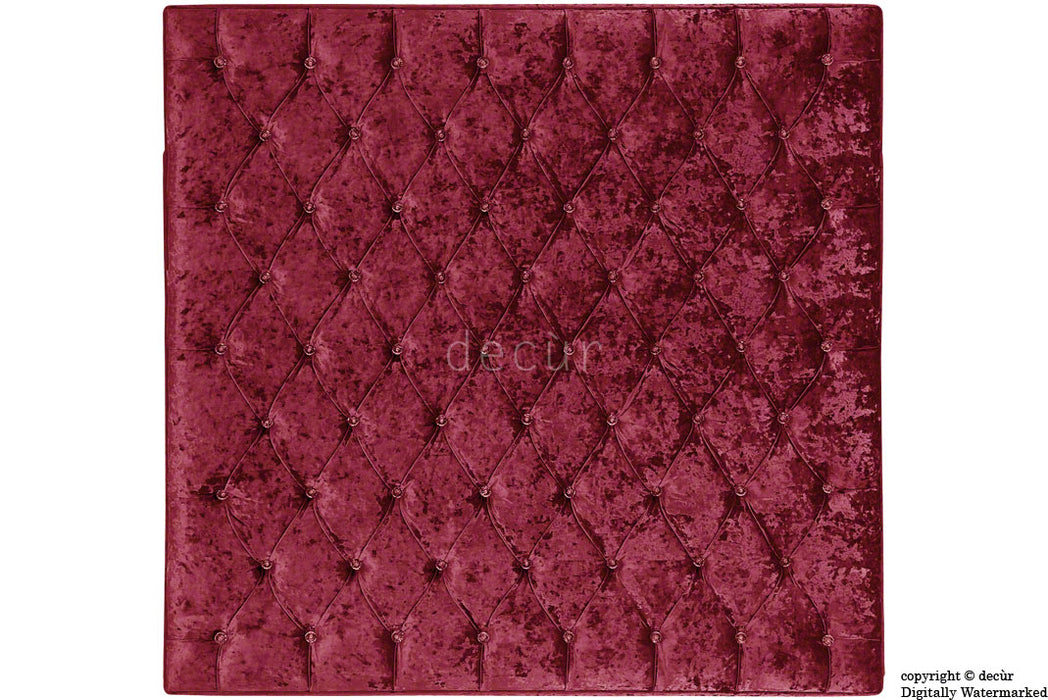London Crushed Velvet Buttoned Headboard - Carmine
