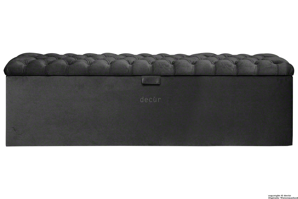 Viscount Chesterfield Velvet Ottoman - Cosmic Black