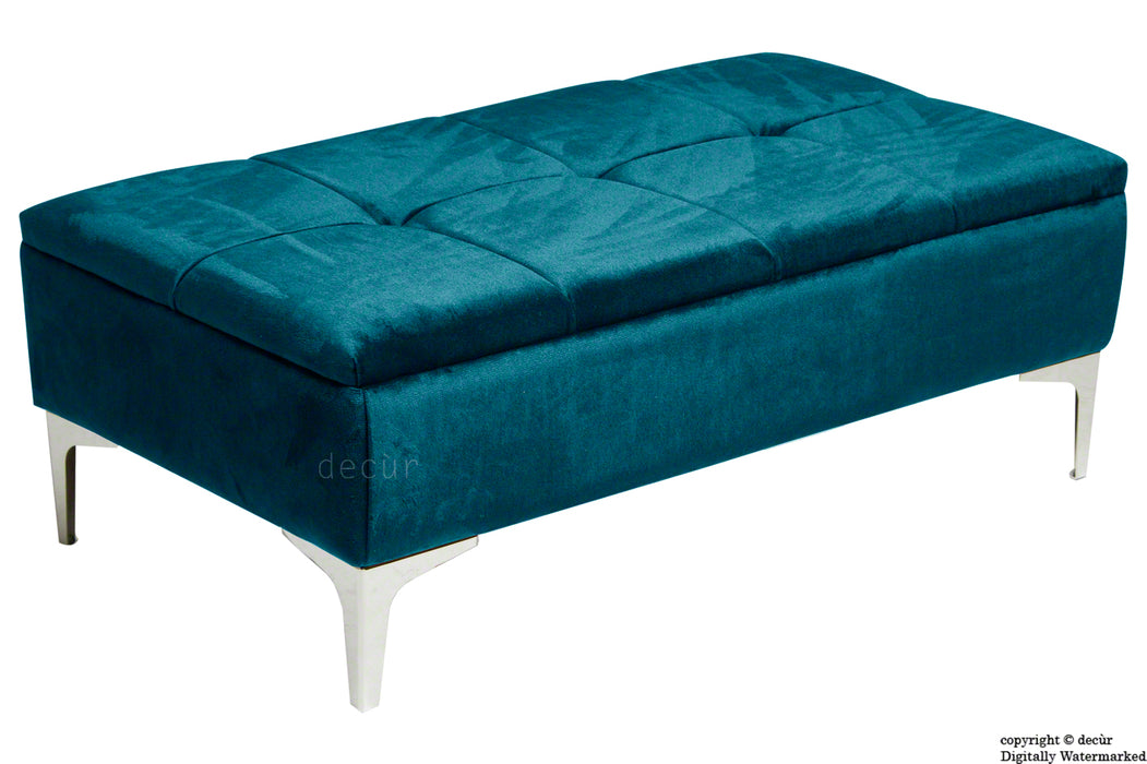 Mila Modern Buttoned Velvet Footstool - Peacock with Optional Storage