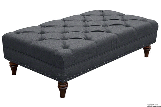 Harris Tweed Lewis Buttoned Hebrides Plain Footstool - Blackhouse Stone
