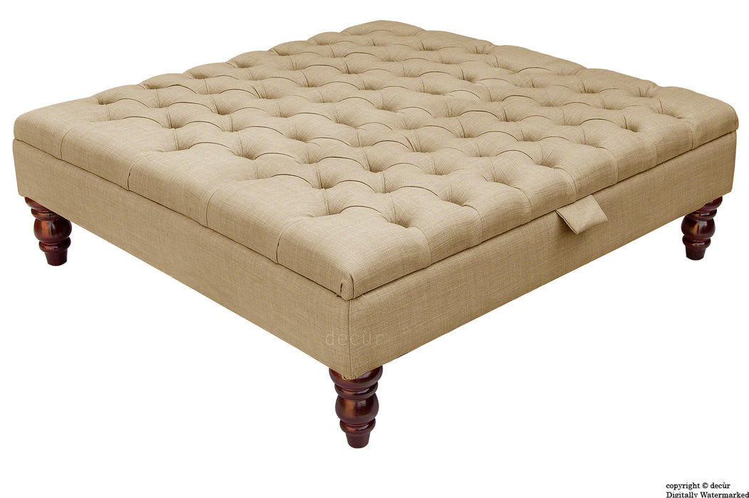 Tiffany Buttoned Linen Footstool Large - Mink with Optional Storage