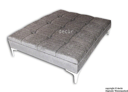 Mila Large Buttoned Footstool - Silver Grey with Optional Storage
