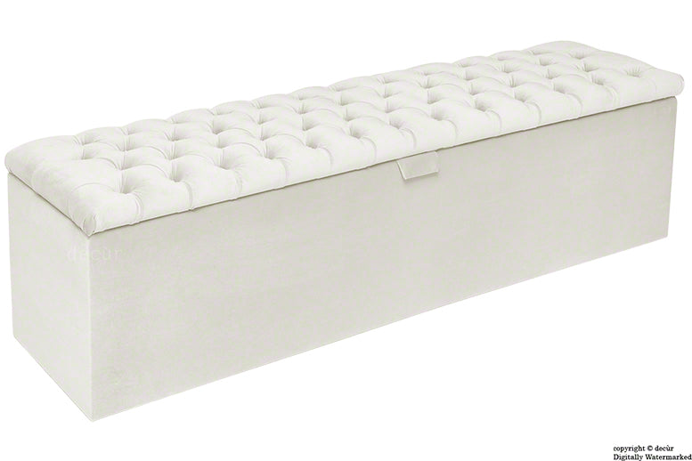 Viscount Chesterfield Velvet Ottoman - Cream