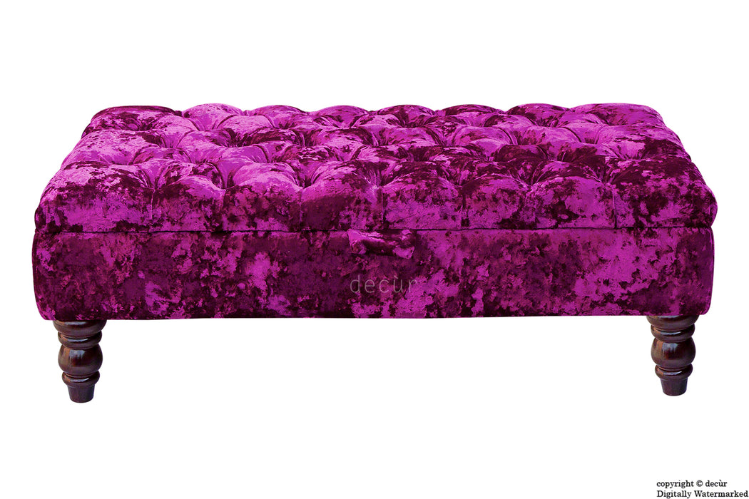 Tiffany Buttoned Crushed Velvet Footstool - Glamour with Optional Storage