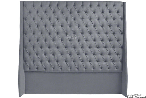 Abbingdon Buttoned Winged Velvet Headboard - Seal