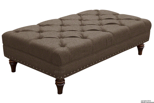 Harris Tweed Lewis Buttoned Hebrides Plain Footstool - Laxdale Brown
