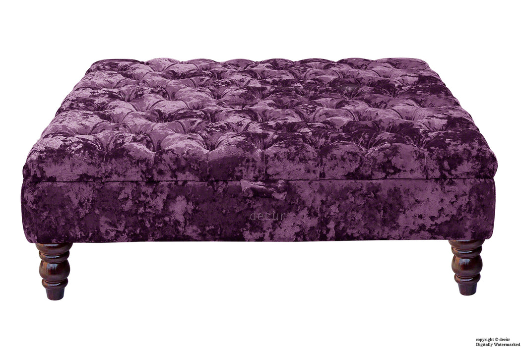 Tiffany Buttoned Crushed Velvet Footstool Large - Amethyst with Optional Storage