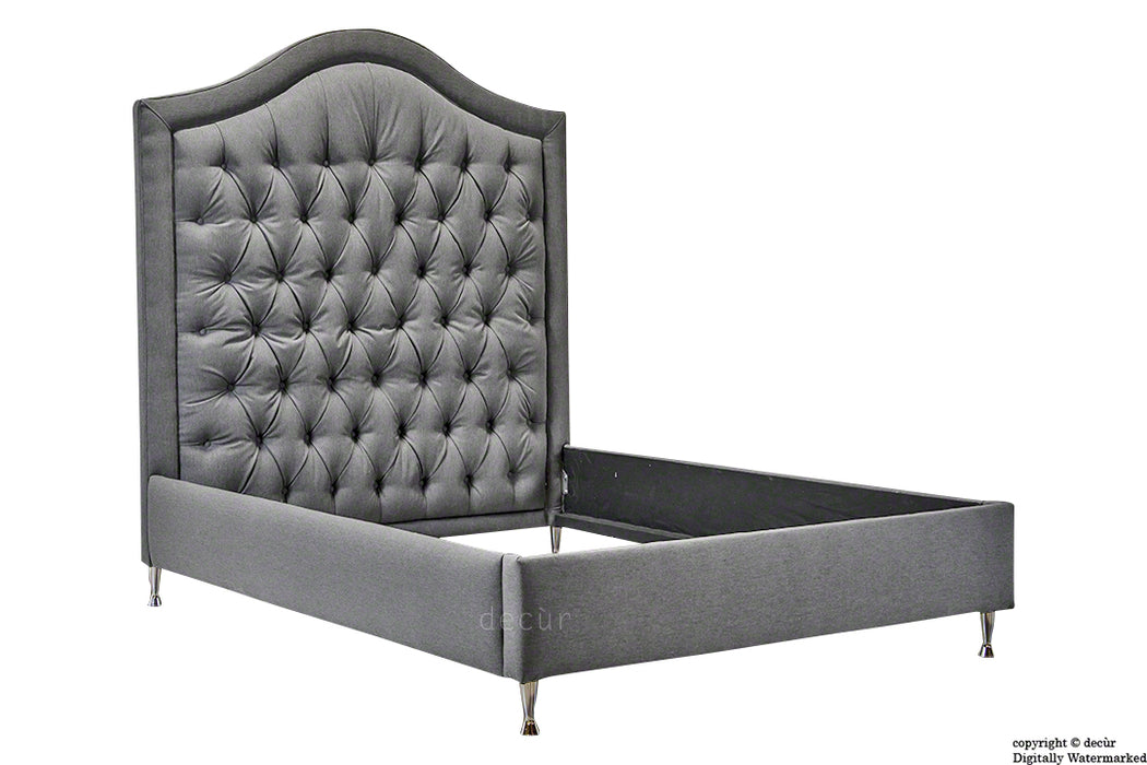 Harrogate Upholstered Tweed Wool Bed - Storm
