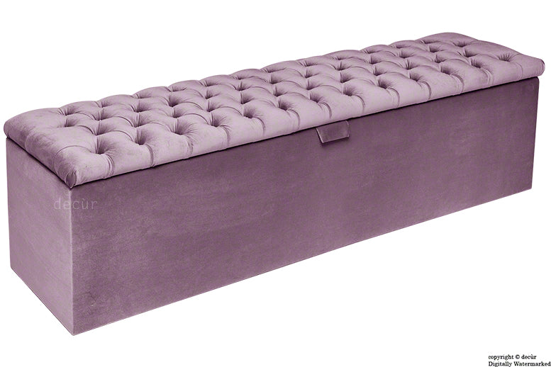 Viscount Chesterfield Velvet Ottoman - Lavender