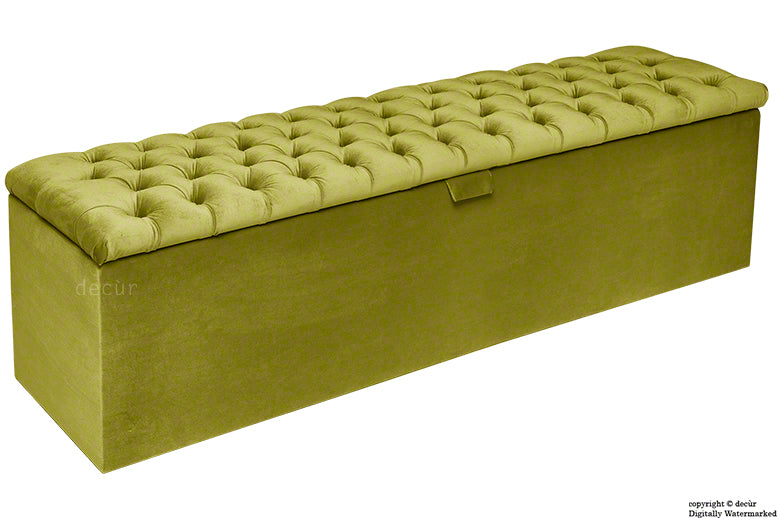 Viscount Chesterfield Velvet Ottoman - Grass