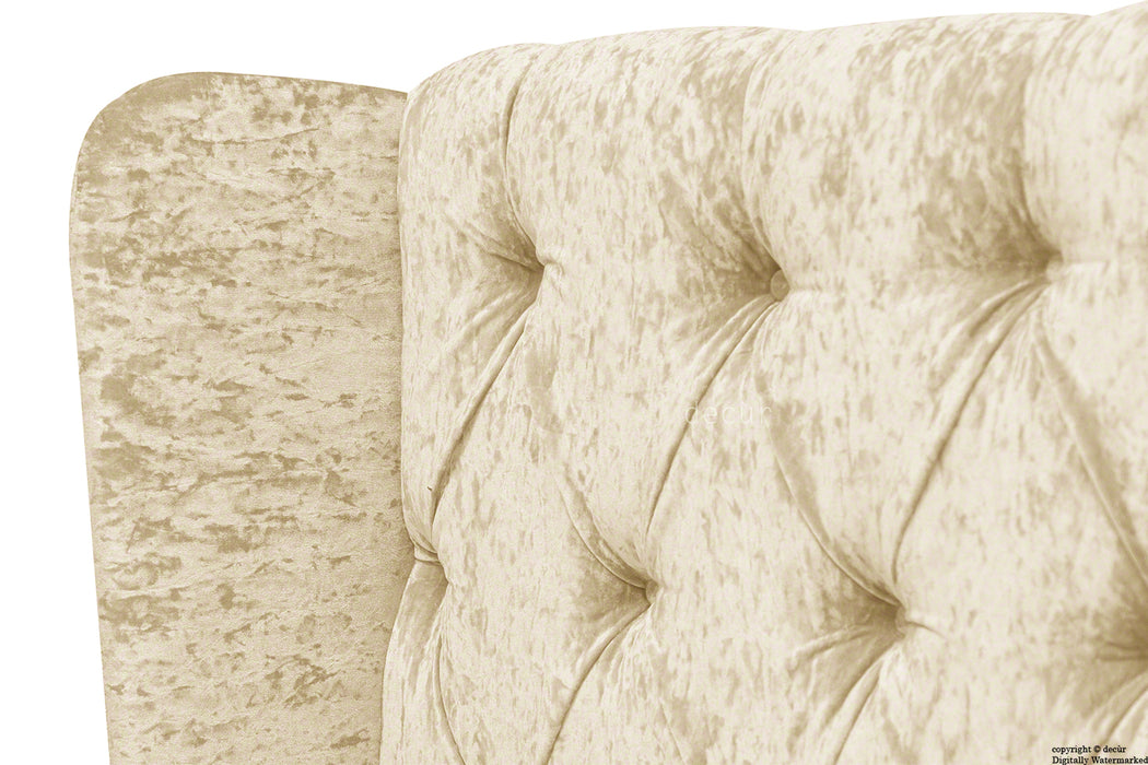 Elizabeth Winged Buttoned Crushed Velvet Bed - Buttermilk