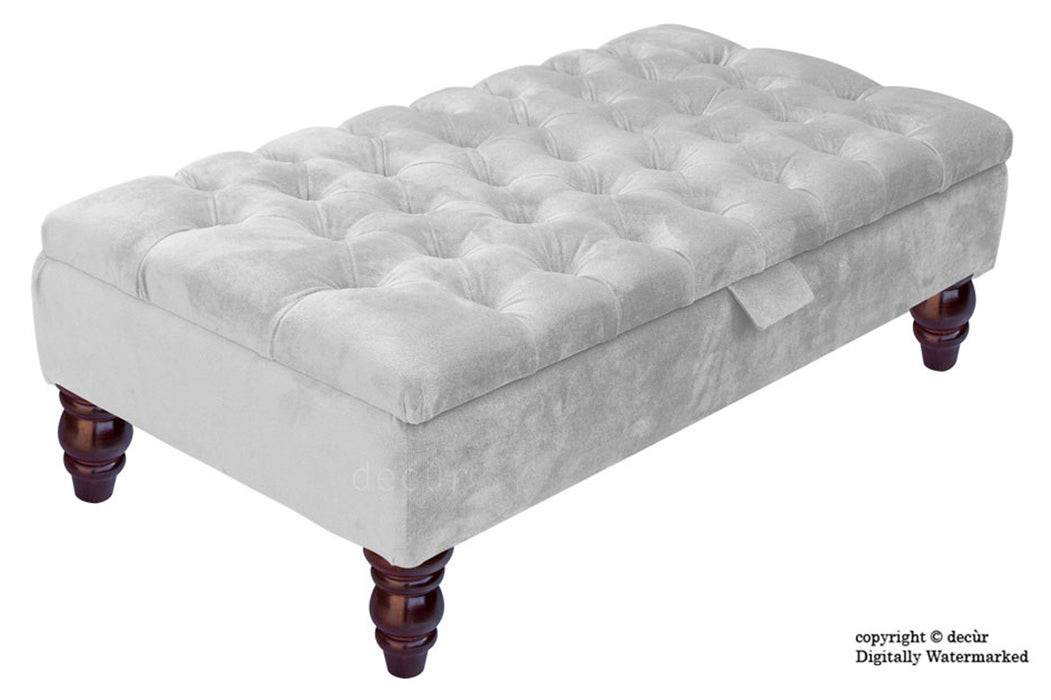 Tiffany Buttoned Velvet Footstool - Silver with Optional Storage