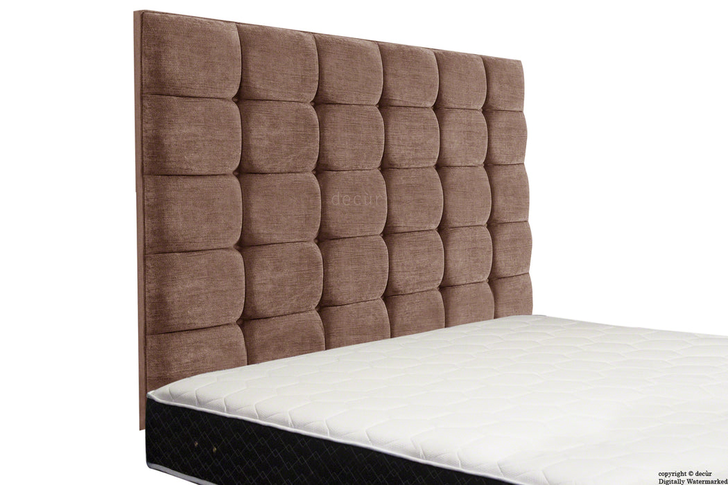 Grace Mila High Buttoned Wall Headboard - Chestnut
