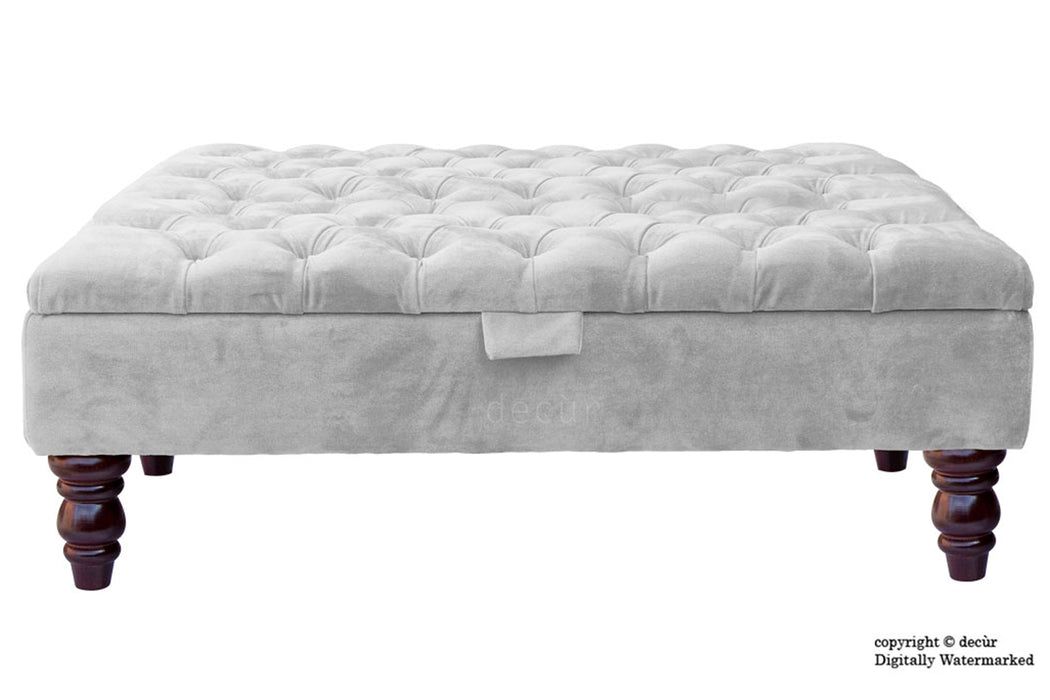 Tiffany Buttoned Velvet Footstool Large - Silver with Optional Storage