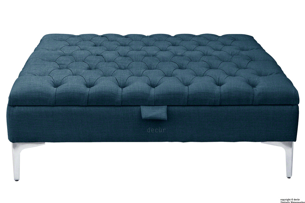 Tiffany Modern Buttoned Linen Footstool Large - Midnight with Optional Storage
