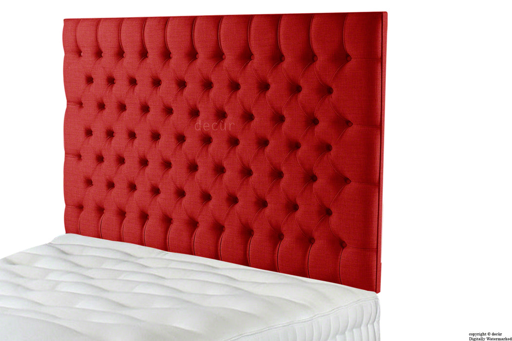 Tiffany Harrogate Buttoned Wall High Linen Headboard - Ruby