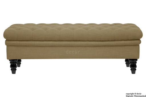 Amy Buttoned Linen Modern Tufted Footstool - Chocolate