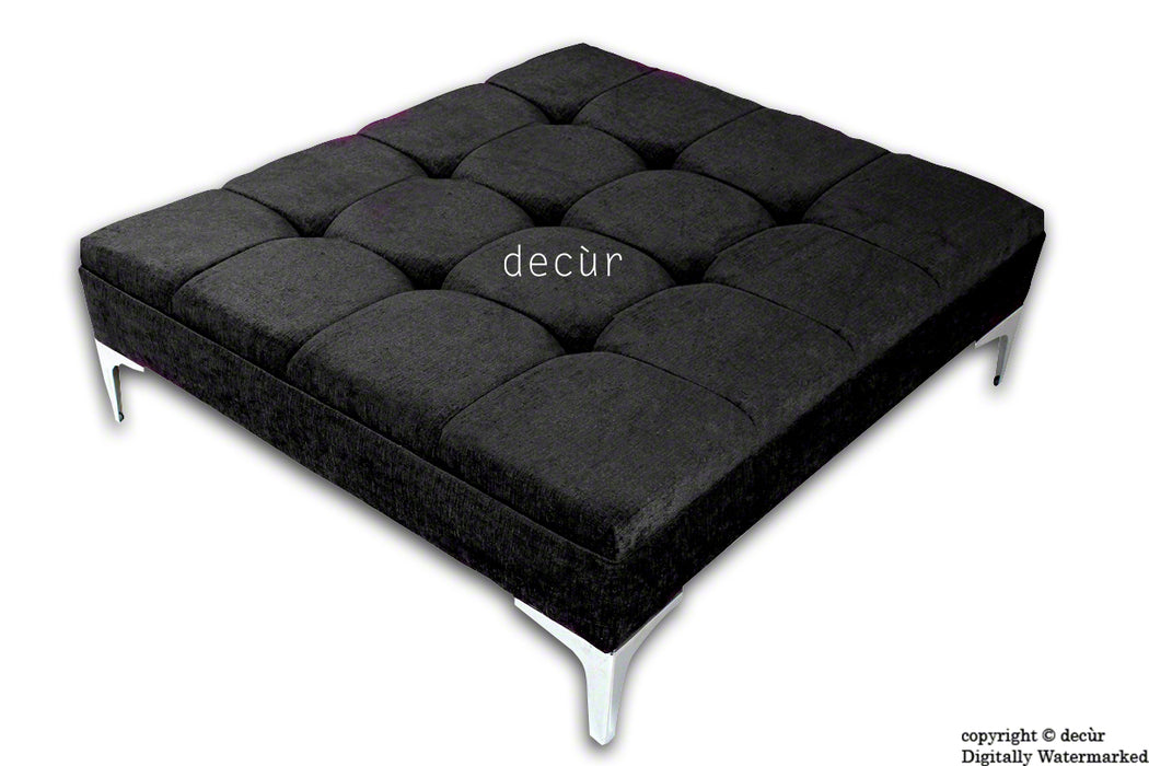 Mila Large Buttoned Footstool - Black with Optional Storage